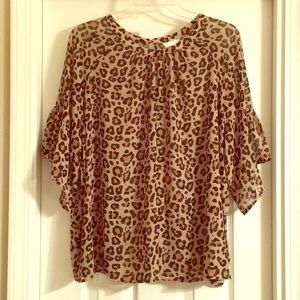 Super Cute Ava & Viv  2X Animal Print Blouse